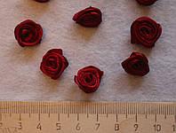 Атласная розочка бордовая 754  упаковка 10 шт