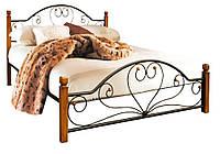"""Металлическая двуспальная кровать """"Джоконда"""" на деревянных ножках Металл-Дизайн"""