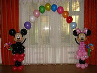 Арка из шаров, фигуры Микки-Мауз из шаров, оформление дня рождения шарами