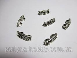 Конектор розділювач 2 дирки метал колір античне срібло 5 шт