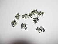 Коралик металевий 9 мм, Квадрат,  Античне срібло 10 шт.
