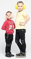 Зимнии лосины детские с кожей на коленях черные