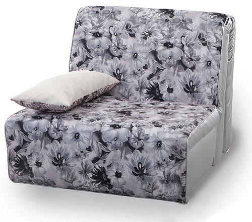 Детское кресло кровать Аккордеон серый с подушкой, дизайн цветы