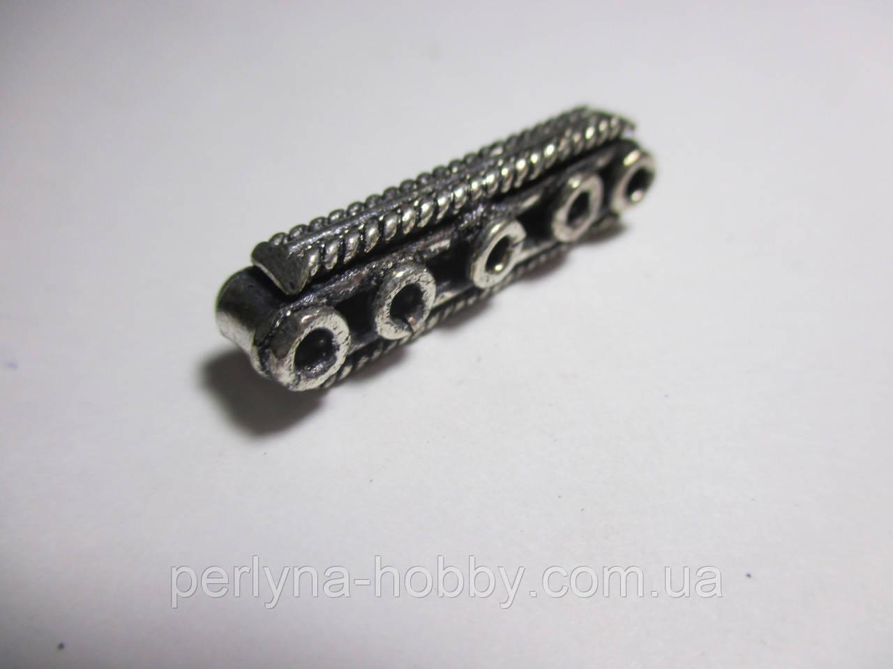 Конектор розділювач 5 отворів, литий метал античне срібло затемнене