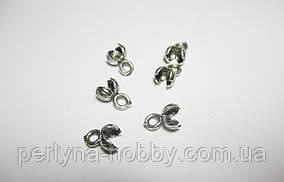 Затискачі для шнурів, литий метал колір античне срібло10 шт