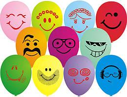 """Воздушные шарики пастель  шелкография улыбки стильные ассорти 12"""" (30 см)"""