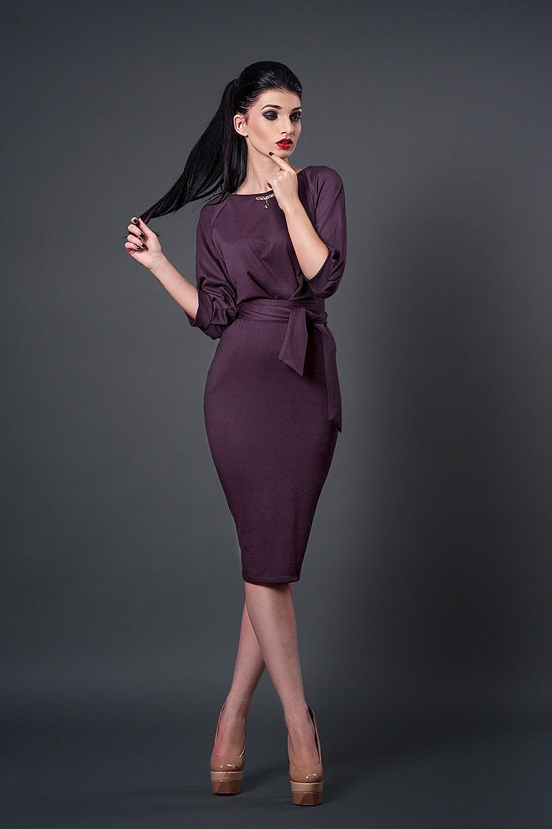 Платье мод №256-12,размеры 44 светлый баклажан