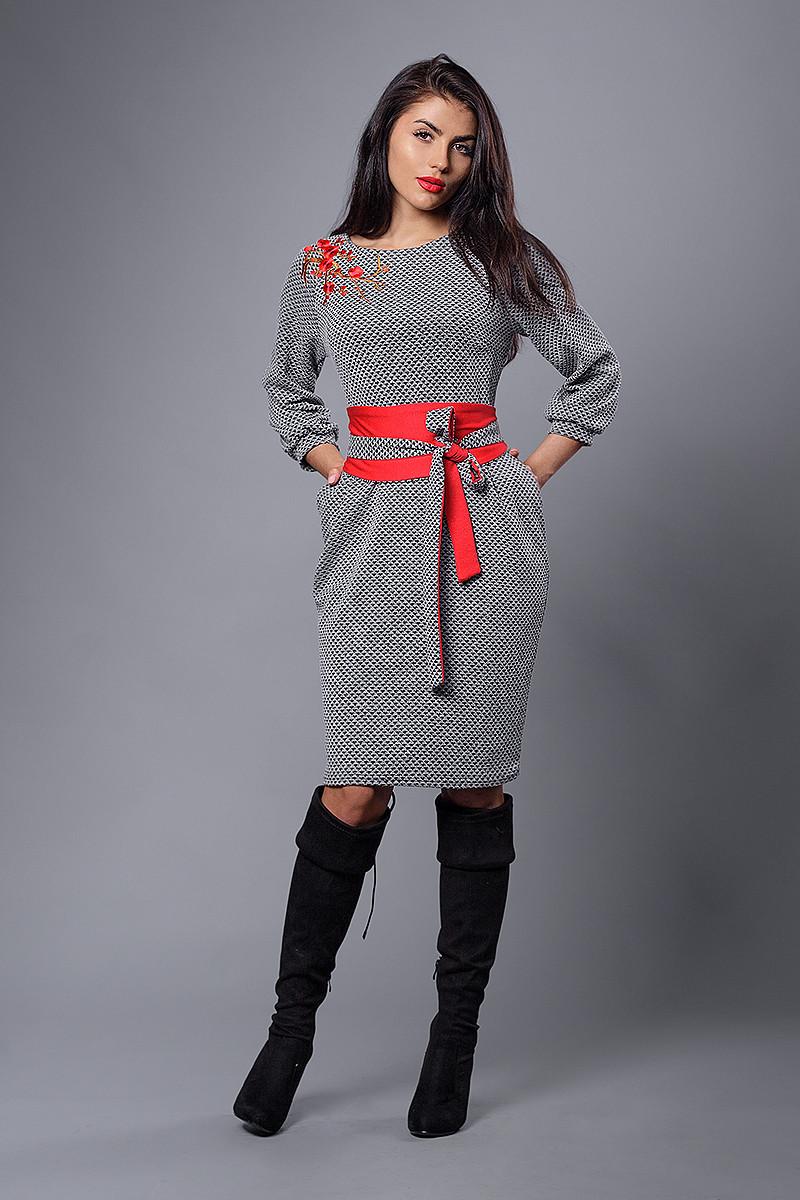 Платье мод №271-1, размеры 54 серое ромб