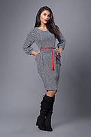 Платье мод №272-3, размеры 54 бело-серое