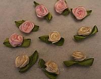 Атласная розочка с листиками розовая 756  упаковка 10 шт