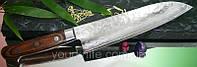 Купить нож сантоку кухонный японский Gekko Damascus 33 Santoku 185мм