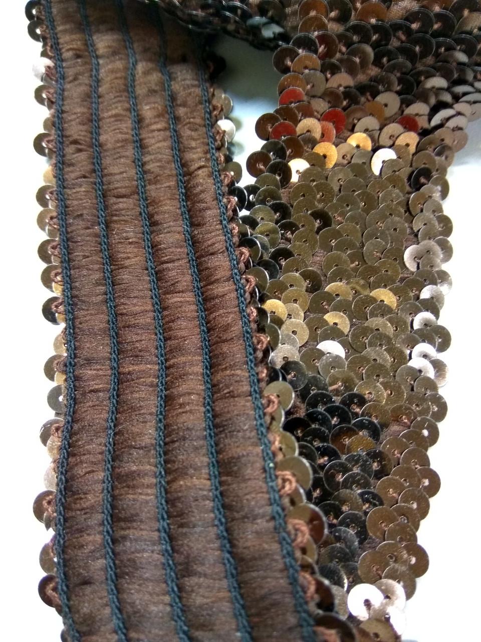 Пояс з паєтками на метраж на резинці шоколад темний