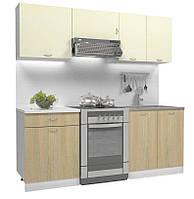 Кухонный гарнитур ваниль МДФ 2 метра из 5 модулей  (кухонный комплект мебели)