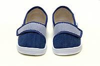 Детские летние синие джинсовые мокасины для девочки. Сменная обувь тапочки - сетка на липучке WALDI Украина
