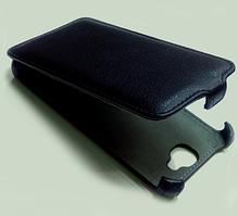 Кожаный чехол FSV для телефона Fly IQ446 Magic. Черный цвет