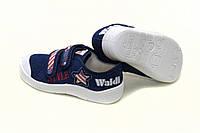 Детские летние синие мокасины унисекс. Сменная обувь тапочки - кеды на липучках WALDI Украина