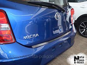 Накладка на задний бампер Nissan Micra IV 5D с -2010 г.