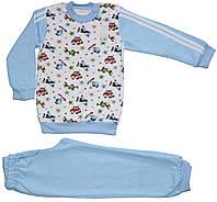 Пижама для мальчика, голубая с вертолетами, самолетами,  рост 110 см, 116 см, ТМ Ля-ля