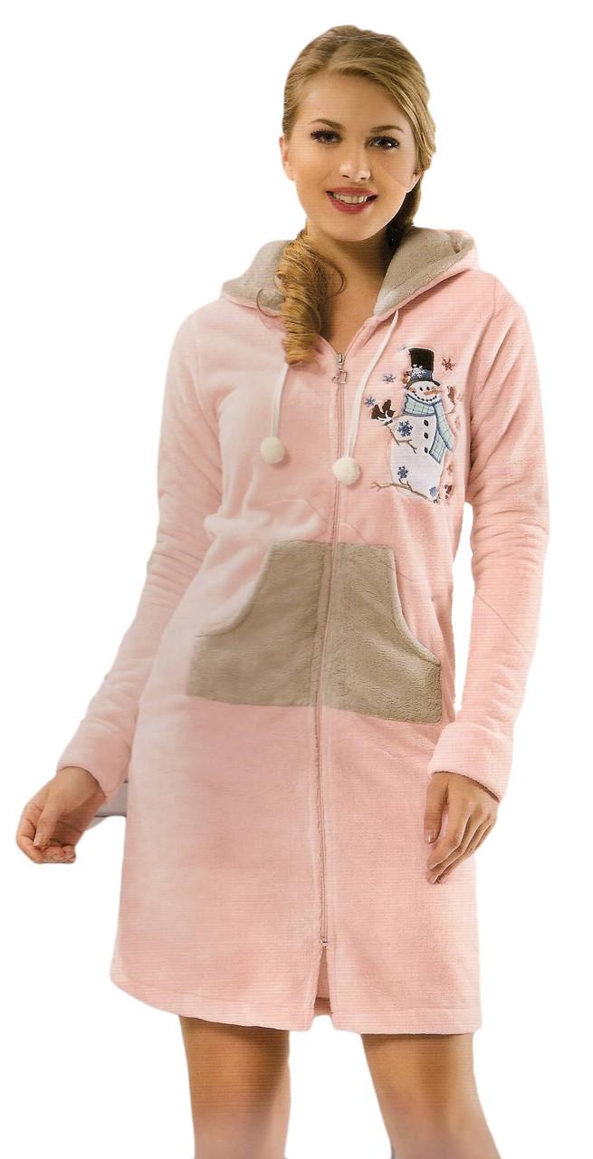 02a72952f477 Купить Женский махровый халат на молнии