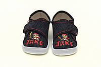 """Детские летние синие мокасины для мальчика. Сменная обувь тапочки - кеды на липучке """"Джек"""" WALDI Украина"""