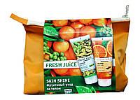Косметический набор Fresh Juice Skin Shine Фруктовый уход за телом в косметичке (душ-пилинг для тела - 2 шт.)