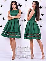 Коттоновое зелёное платье Адель без рукавов