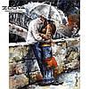 """Картина для рисования камнями Diamond painting Алмазная вышивка """"Влюбленные под зонтом"""" полная выкладка"""