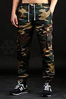 Камуфляжные утепленные штаны с карманами Ястреб