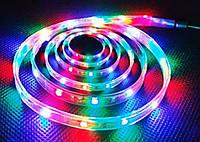Светодиодная лента RGB 3528: LED 60 штук на метр, разноцветная, питание 12В, влагостойкая