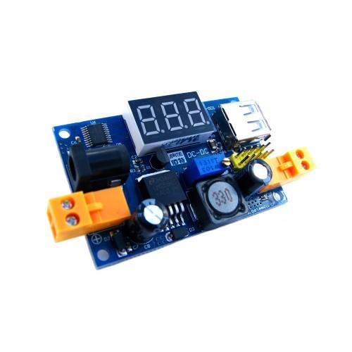 Понижающий преобразователь напряжения DC-DC + USB + гнездо + вольтметр