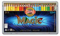 Карандаши KOH-I-NOOR цветные Magic, 23 шт. + Блендер мет.уп. 340802