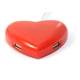 4-портовый USB хаб сердце сердечко, красное