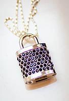 Флешка 2 в 1: ювелирное украшение кулон в виде замочка (серебро с черными стразами) со стразами и флешка 8GB