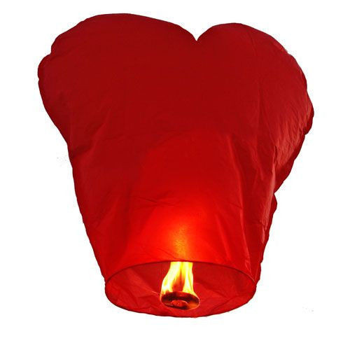 Красный небесный фонарик в виде сердца размером 85х85 см