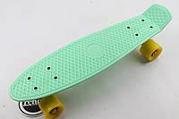 Скейт,пенни борд Мятная доска и желтые колеса