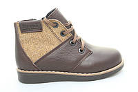Зимние детские кожаные коричневые ботинки на меху BRONI  не дорого  все размеры 27-36