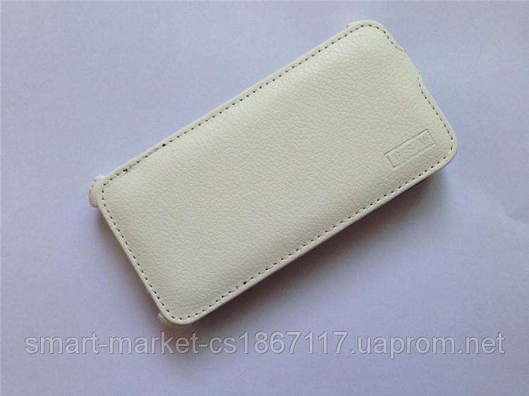 Шкіряний чохол FSV для телефону Fly IQ446 Magic. Білий колір