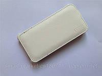 Кожаный чехол FSV для телефона Fly IQ446 Magic. Белый цвет
