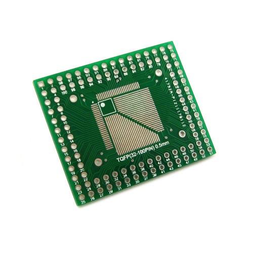 Печатная плата-переходник TQFP QFP 32-100 на DIP 32-100 двухсторонняя
