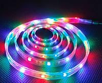 Светодиодная лента RGB 5050 многоцветная, размер 1000х10х2,5 мм, 12 В, мощность 14,4 Вт/м, IP 20