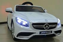 Детский электромобиль Mercedes AMG S63 кожаное сидение, белый, фото 3