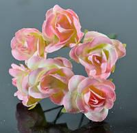 Цветы розовые ЦВ250-1/6 6шт Ф3см