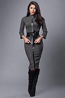 Деловой женский костюм с кожаной полоской