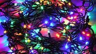 Гирлянда LED светодиодная на 100 ламп микс (черный провод)линза
