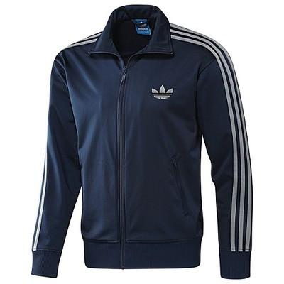 Толстовка спортивная мужская adidas Firebird X53090 (синяя, молния, стойка, манжеты, эластик, логотип адидас)