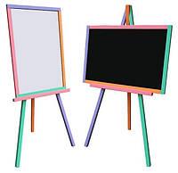 Мольберт детский двухсторонний магнитный, доска для рисования, для мела, маркеров и магнитов 3в1.