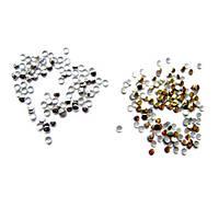 Набор из 1000 стразов золото+серебро, 2мм стразы для нейл-арт, декора