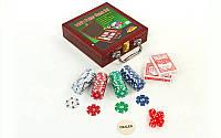 Набор для покера в деревянном кейсе на 100 фишек с номиналом