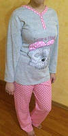 Пижама на байке с длинным рукавом 44-46,доставка по Украине