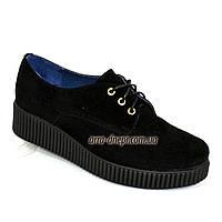 Женские туфли на утолщенной подошве, на шнуровке, натуральная замша, фото 1